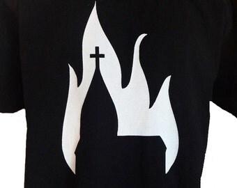 Burning Church T-Shirt Unisex Adults Antichrist Blasphemy Satanic
