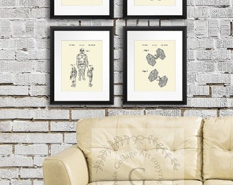 Star Wars Art Decor Prints set of 4  Cream wall Art. Boy's Bedroom Decor, Star Wars gift. Star Wars Birthday Decor, Boys Room Art,