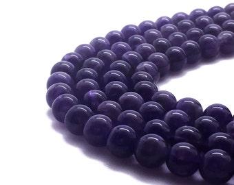 10mm Natural Amethyst Beads Round 10mm Amethyst 10mm Amethyst Beads Amethyst Stone Amethyst Gemstone Purple Gemstone Mala Purple Mala