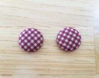 Burgundy Small Checkers Button Fabric Earrings