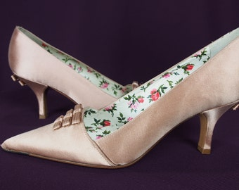 Vintage Prada Satin Pumps with Bows -Unworn-Size 35 1/2