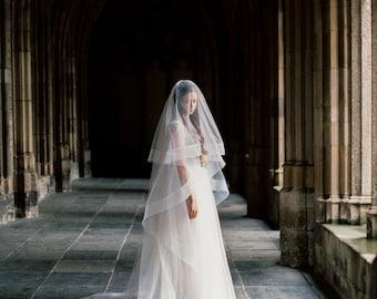Thick horsehair ribbon veil with blusher, horsehair wedding veil, cathedral bridal veil, circle wedding veil, drop veil, Style V30