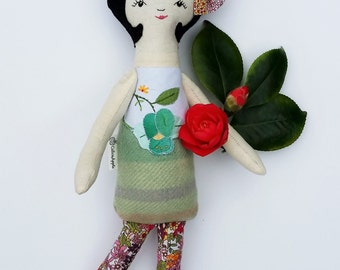 Handmade rag doll, cloth rag doll, heirloom rag doll, rag doll, vintage style rag doll
