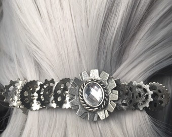 French Barrettes Silver Hair Clips or Gear Hair Clip - Silver Hair Clip  or Steampunk Hair Clip - Hair Clips Silver 80mm - Wedding Hair