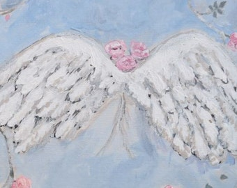 Angel Wings, Shabby Chic Painting, Roses, Sky, Original Painting,  Wings, 9x12 Acrylic on canvas