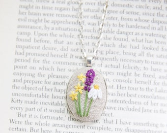 Garden Flowers Pendant. Embroidery Necklace. Wildflower Bouquet Necklace. Jewelry Under 25.