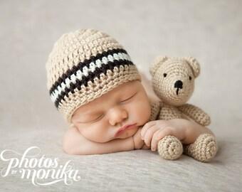 Toddler Hat Boy, Crochet Baby Hat, Boy Hat, Newborn Hat, Toddler Beanie, Newborn Photo Prop, Baby Boy, Newborn Baby Hat, Tan Black Off White