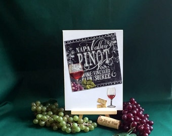 Wine invitations,handmade recycled fabric greeting card,blank inside,wine party invites,wine birthday card,wine lover,for wine drinker, 5x7