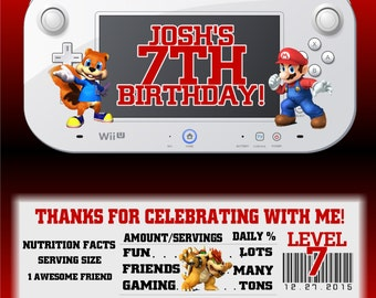 Printable Super Smash Bros. Mario Birthday Candy Bar Wrappers 1.55 oz. Hershey's Chocolate Nestle Crunch Cookies and Cream