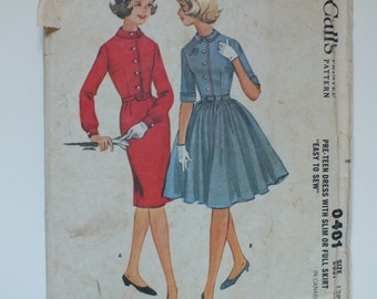 McCall's Vintage Sewing Pattern 6481 1960's Size 12 6 8 Bust 31 Misses Dress Slim Full Skirt cut and uncut circle gathered belt petite