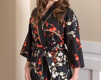 Maternity Robe. Cotton Kimono Robe. Knee Length. All sizes