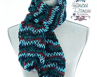 Hand Knit Blue Scarf, Scarf for Friend, Trending Knit Scarf, Scarf for Boyfriend,Knit Scarf for Dad,Scarf Gifts Under 30,Knit Blue Red Scarf