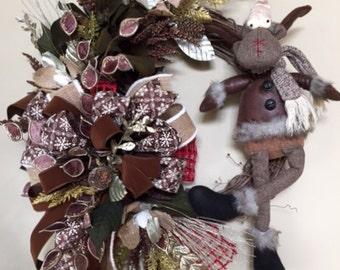 Winter Wreath, Moose Wreath, Rustic Moose Wreath, Grapevine Winter Wreath, Whimsical Moose Wreath, Moose Door Decor, Moose Decor