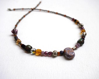 unique mid-length necklace with glass beads. Original, eclectic, asymmetric, beaded boho necklace.