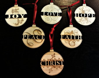 Wooden Christmas Ornament Set of 6: Christ, Hope, Love, Joy, Peace, Faith