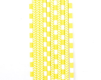 Yellow Straw With Gold Flag, Paper Straw, Neon Straw, Gold Straw Flag, Baby Shower or Wedding Straw, Straw