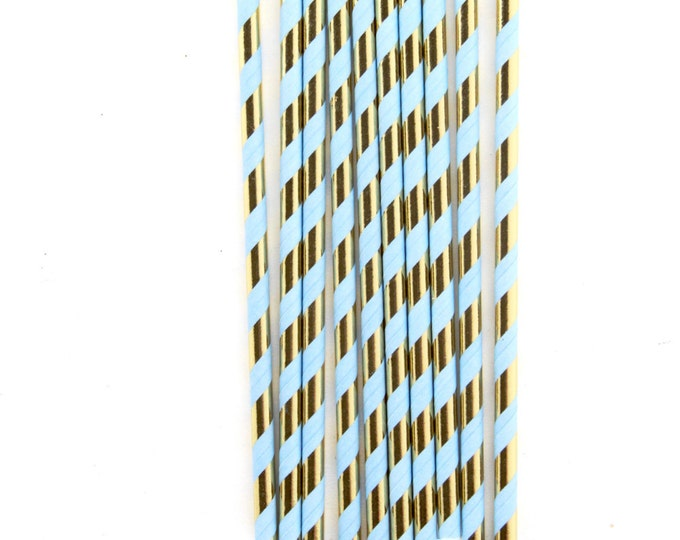Iridescent Gold Foil Periwinkle Blue Paper Straw With Gold Flag, Gold Periwinkle Straw Light Blue Baby Shower Wedding Straw Decorative Straw
