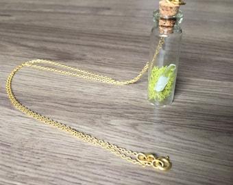 Moss and Quartz Crystal Vial Necklace