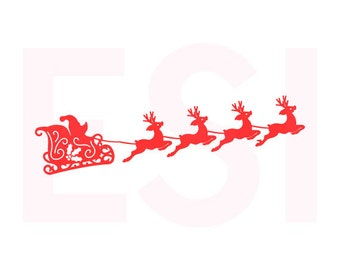 Santa sleigh and reindeers, SVG, DXF, EPS, Christmas svg files, for use with Silhouette Cameo and Cricut Explore. Santa svg, Reindeer svg.