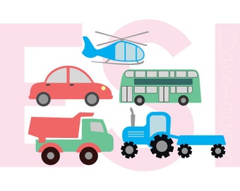 Transportation Designs svg Set - Car svg, Helicopter svg, Bus svg, SVG, DXF, EPS, for use with Silhouette and Cricut Explore Machines.