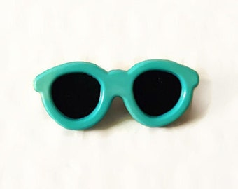 Vintage Pinback Blue Sunglasses Button Retro 80's New Wave Accessory