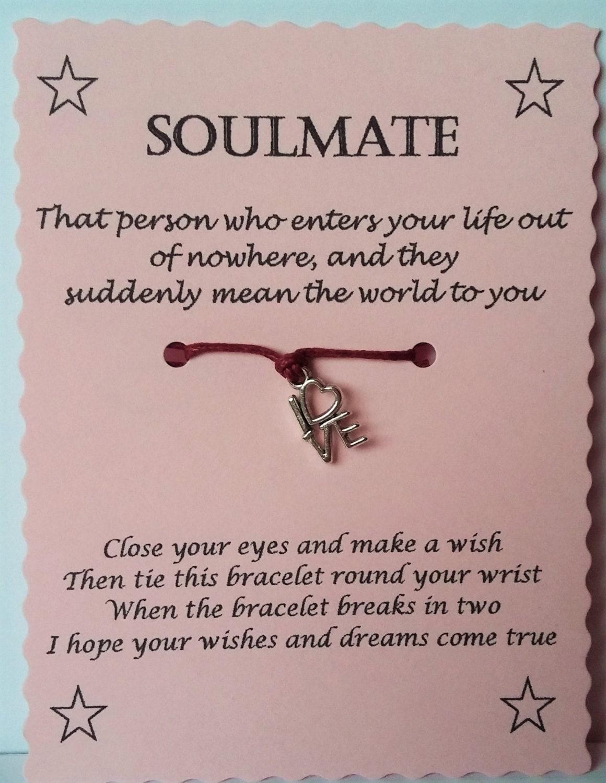 Soulmate Gift Soulmate Card Soulmate Wish Bracelet Charm