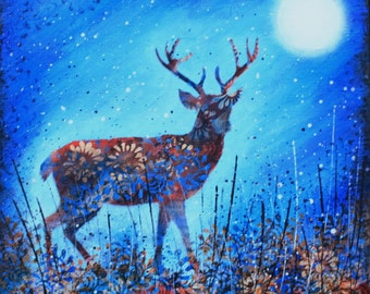 Autumn Forest Stag/bridget skanski-such/animal art/original painting/blue/starry night/stag picture/moon/deer/wildlife/countryside/