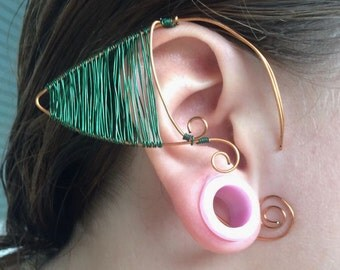 Fairy ear cuffs-Handmade jewelry-Elf ears-Copper and green-Wire wrap ear cuffs-Fantasy-Christmas Gift