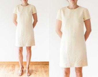 SALE Vintage Boho Yellow Dress // 90s Ann Taylor // Boho Midi Dress // Short Sleeve Shift Dress // Vintage Women's Clothing // Size Small