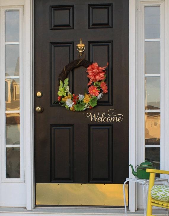 Welcome Decal Door Decal Vinyl Decal Front Door By SaltedMagnolias