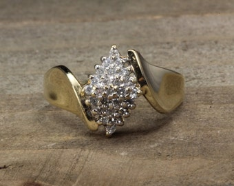 Estate, 10K Yellow Gold Diamond Cluster Ring