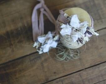 Lavender moss bow headband