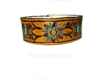 Leather Cuff with Hand Tooled and Painted Flower, Women's Wristband, Leather Bracelet, Bohemian Bracelet, Leather Jewelry, Gift for Her