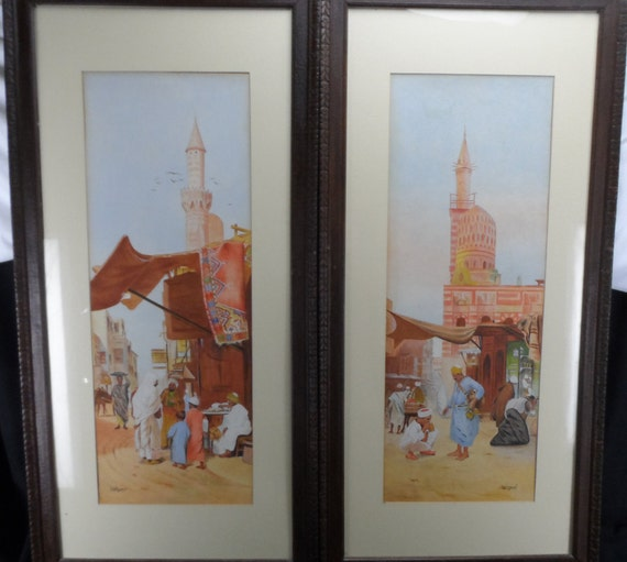 20th Century Watercolor Paintings R H Mason Middle East Street Market