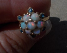 Genuine fire opal and blue sapphire glass flower ring size 7 and 1/2