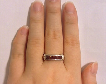 Garnet Ring | Garnet Band | Silver Garnet Ring | Size 6 7 8 | Vintage Garnet Ring