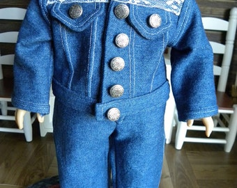 18 inch Doll Jeans with Lace trim