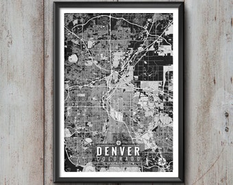 DENVER Colorado Map with Coordinates, Denver Wall Art, Denver Map, Map Art, Map Print, Denver Print, Denver Art, Denver Gift, Map, Denver
