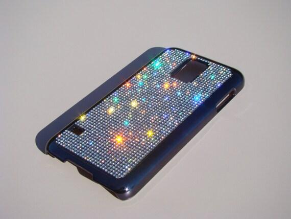 Galaxy S5 Clear Diamond Rhinestone Crystals on Black Chrome Case. Velvet/Silk Pouch Bag Included, Genuine Rangsee Crystal Cases.