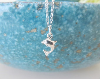 Sterling silver dolphin necklace, dolphin necklace