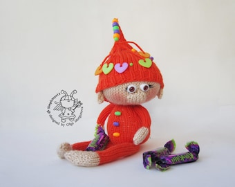 Amigurumi elf.Elf pattern.Knitting pattern.Knitted round.Naughty elf.DIY knitted toy.Doll making.Halloween elf.Instant download.Softie doll.