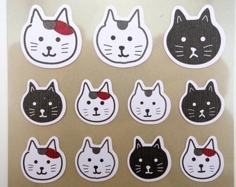 Japanese cat emoticon face chiyogami paper stickers - cute kitty cats - calico & black cats - large to small stickers - adorable feline face