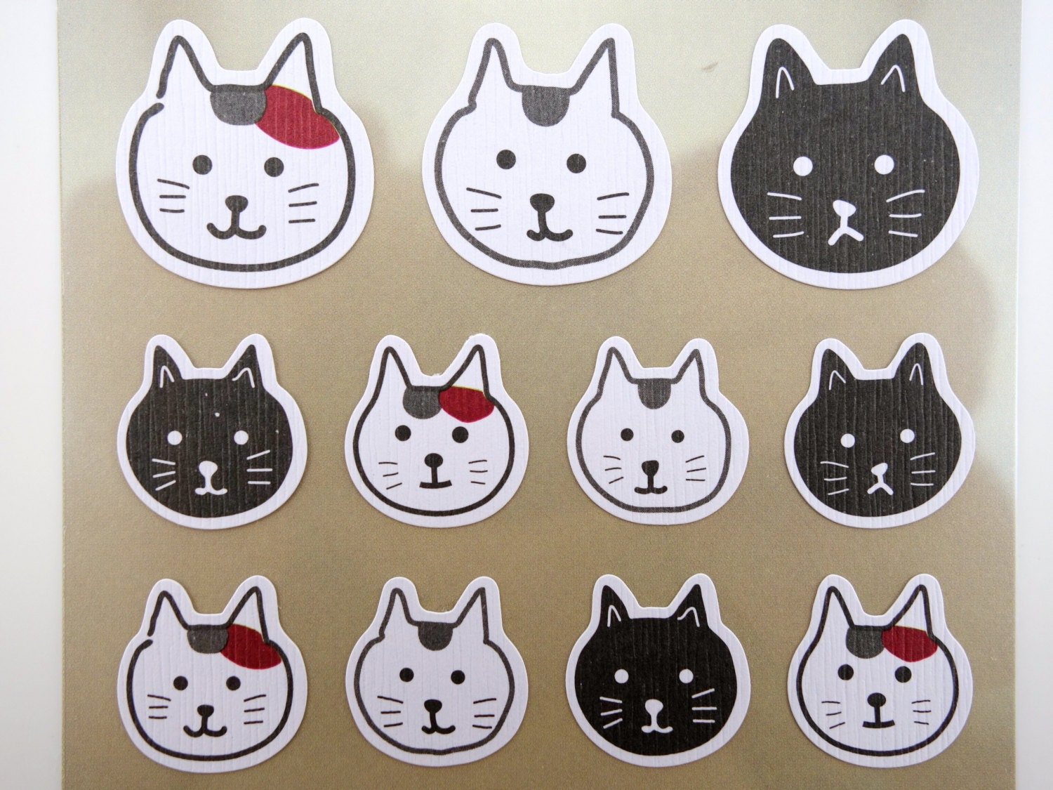 japanese cat emoticon face chiyogami paper stickers cute