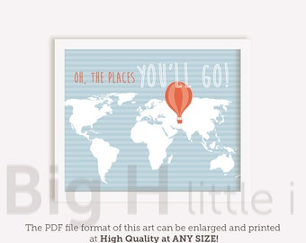 World Map - Quote Print Wall Art - Oh the places you'll go - Blue - Orange