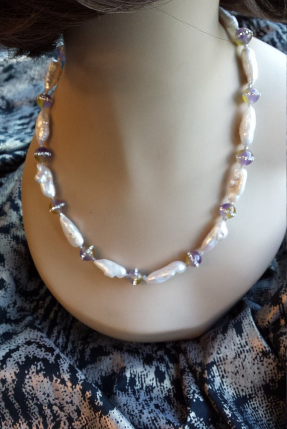 One strand beaded freshwater pearls and jasper with inlaid swarosky crystals