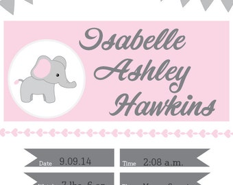 Printable Baby Girl Announcement