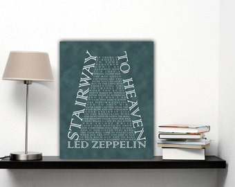 Stairway To Heaven Led Zeppelin Lyrics Poster, Song Lyric Art, Rock And Roll Decor, Retro Printable Vintage Rock Poster, Rock N Roll Art