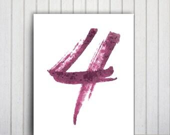 Digital Poster Download Printable Number Art, Number Prints, Custom Illustration Poster, Number Wall Art Print Printable Poster Purple Print