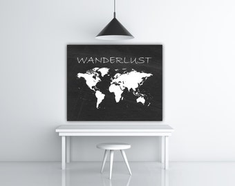 World Map Poster, Wanderlust Print, Travel Decor, Chalkboard Map, World Poster, Wanderlust Poster, World Travel Map, INSTANT DOWNLOAD