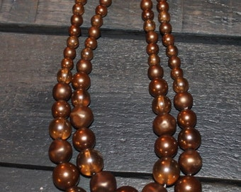 Vintage Beaded Brown Necklace - Costume Jewelry